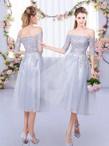 Elegant Grey Tulle Zipper Off The Shoulder Half Sleeves Tea Length Bridesmaid Gown Lace