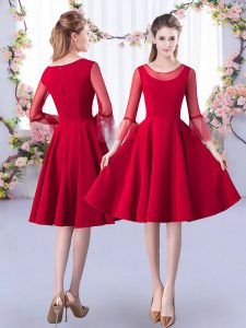 Superior Red A-line Satin Scoop 3 4 Length Sleeve Ruching Knee Length Zipper Bridesmaid Dresses