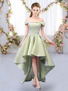 Fantastic Yellow Green A-line Off The Shoulder Sleeveless Satin High Low Lace Up Appliques Bridesmaid Dress