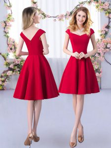 Elegant Red A-line Ruching Bridesmaids Dress Zipper Satin Cap Sleeves Knee Length