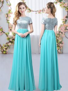 Pretty Aqua Blue Short Sleeves Chiffon Zipper Wedding Guest Dresses for Prom and Party and Wedding Party
