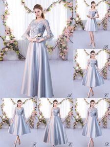 Fantastic Silver 3 4 Length Sleeve Lace Floor Length Wedding Party Dress