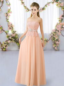 Simple Floor Length Peach Wedding Party Dress Strapless Sleeveless Lace Up