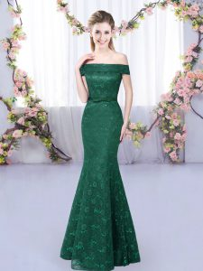 Dark Green Off The Shoulder Neckline Lace Wedding Party Dress Sleeveless Lace Up