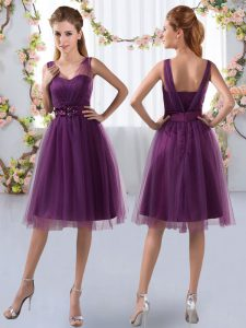 Delicate Purple Tulle Zipper V-neck Sleeveless Knee Length Bridesmaid Dress Appliques