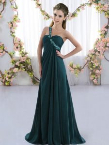 Fantastic Peacock Green Empire Chiffon One Shoulder Sleeveless Beading Lace Up Bridesmaid Dress Brush Train