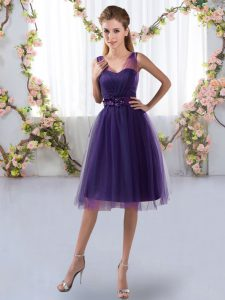 Dazzling V-neck Sleeveless Tulle Bridesmaids Dress Appliques Zipper