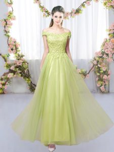 Floor Length Empire Sleeveless Yellow Green Wedding Guest Dresses Lace Up