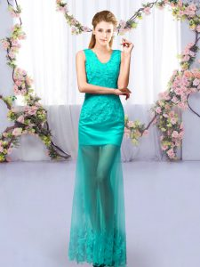 Cute Turquoise V-neck Neckline Lace Bridesmaid Dresses Sleeveless Lace Up