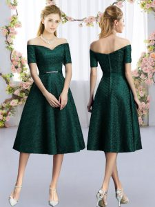 Dark Green Lace Bridesmaid Gown Short Sleeves Tea Length Belt