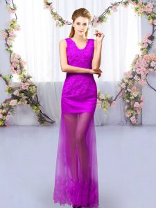 Purple Column/Sheath Tulle V-neck Sleeveless Lace Floor Length Lace Up Bridesmaid Gown