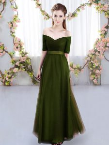 Stylish Olive Green Lace Up Bridesmaid Dresses Ruching Short Sleeves Floor Length