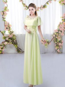 Yellow Green Zipper Bridesmaid Gown Appliques Short Sleeves Floor Length