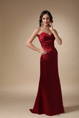 Wine Red Column Sweetheart Brush Ruched Dresses for Bridesmaid in Oudtshoorn