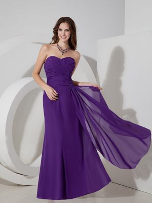 Lovely Purple Column Sweetheart Ruched Bridesmaids Gown in Noordhoek