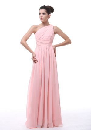 Ruche and Beading for Pink One Shoulder 2013 Bridesmaid Dress in New Castle