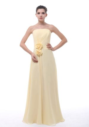 Flowers Decorate Light Yellow Chiffon Bridesmaid Dresses in Nelspruit for 2013