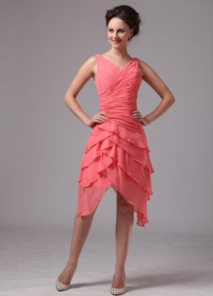 Ruche and Layers for V-neck Watermelon Dress for Bridesmaid in Mount Edgecombe