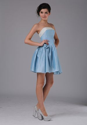 Simple A-Line Strapless Mini-length Light Blue Bridesmaids Dresses in Mooi River