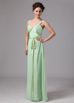 Apple Green V-neck Straps Bridesmaid Dress in Montagu with Sash Decorate