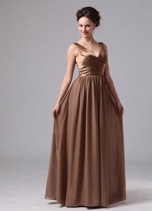 V-neck for Customize Brown Chiffon Bridesmaid Dresses in Modderfontein
