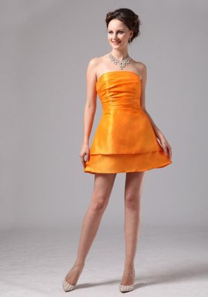 Simple Orange Ruched Satin Mini-length Club Dress for Bridesmaids in Milnerton