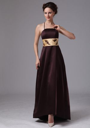 Brown Belt with Appliques Straps Ankle-length Bridesmaids Gown in Middelburg