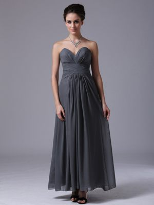 Simple Style Grey Sweetheart Chiffon Ankle-length Bridesmaid Dress in McGregor