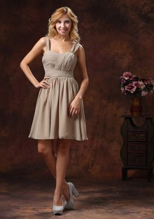 Ruche Decorate Knee-length Grey Straps for Bridesmaid Dresses in Matjiesfontein