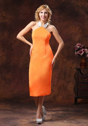Halter Top Neckline for Satin Tea-length Orange Bridesmaids Gown in Malgas