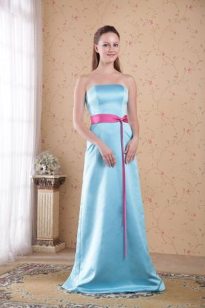 Light Blue Empire Strapless Brush Bridesmaids Dresses in Lydenburg with Sash