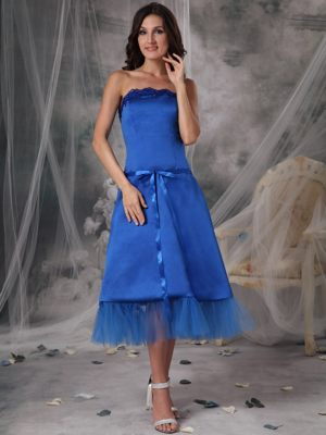 A-Line Strapless Ribbons Tea-length Blue Bridesmaid Dress in Louis Trichardt