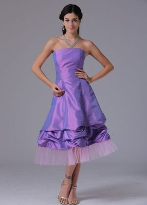 Lavender A-line Strapless Dress for Bridesmaids in Lanseria Tea-length Design