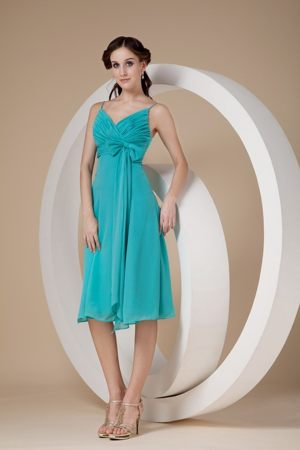 Turquoise Sheath Spaghetti Straps Bow for Bridesmaids Dresses in Kroonstad