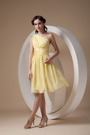 Light Yellow Sheath One Shoulder Ruched Dress for Bridesmaids in Klerksdorp