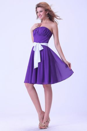 Purple with White Sash Chiffon Knee-length Bridesmaids Dresses in Howick