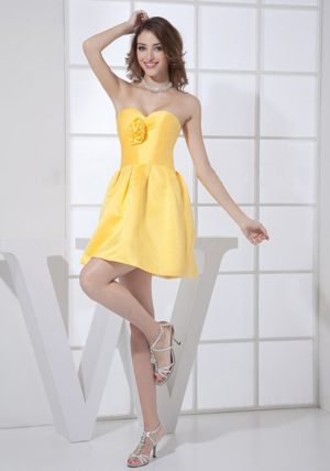 Flower Decorate Sweetheart Mini-length Yellow Bridesmaid Dress in Hout Bay