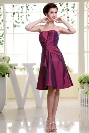 Burgundy with Ruche Knee-length Taffeta Dresses for Bridesmaid in Himeville