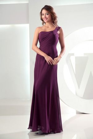 High Slit One Shoulder Burgundy Column Bridesmaids Dresses in Hermanus