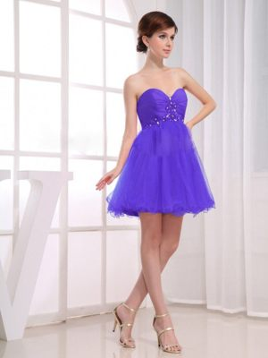 Ruched Purple Short Beading Sweetheart Bridesmaid Dresses in Helderkruin