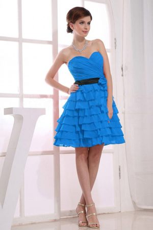 Sweetheart A-Line Ruffles Knee-length Teal Dresses for Bridesmaid in Hatfield