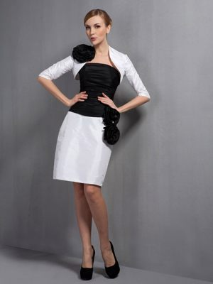 White and Black Column Flowers Accent Dress for Bridesmaids in Grahamstown