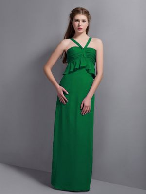 Elegant Green V-neck Chiffon Bridesmaid Dresses in Gillitts with Pleats Accent