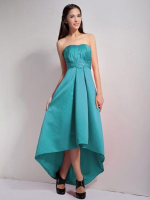 Teal A-line Strapless Appliques High-low Dress for Bridesmaids in Germiston