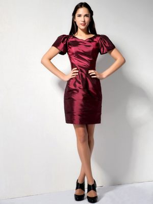 Low Price Wine Red Column V-neck Mini-length Dresses for Bridesmaid in George