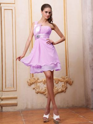 Lavender One Shoulder Dress for Bridesmaids in Estcourt with Beading Accent