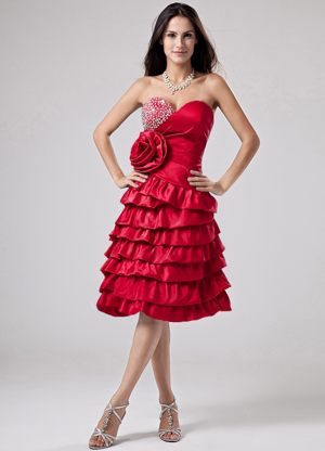 Luxurious Red Ruffled Layers and Flower for Bridesmaid Dress in Edenvale