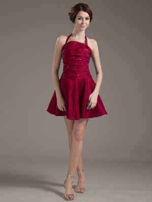 Halter for Wine Red Dress for Bridesmaids in East London with Beading and Pleats