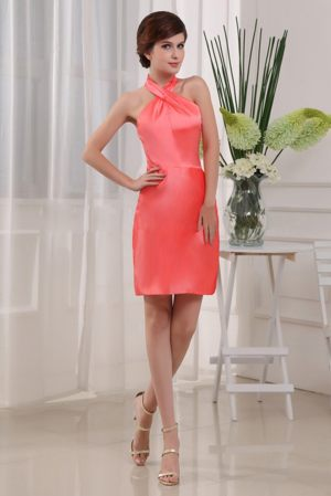 Column Mini-length Coral Red Bridesmaids Gown in Durban Halter Top Design