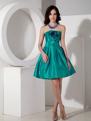 Modest Turquoise A-line Flowers for Mini-length Bridesmaid Dresses in Delmas